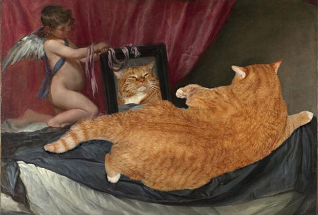 Chết cười loạt ảnh chế mèo béo trở thành 'nàng thơ' trong các bức họa nổi tiếng 9