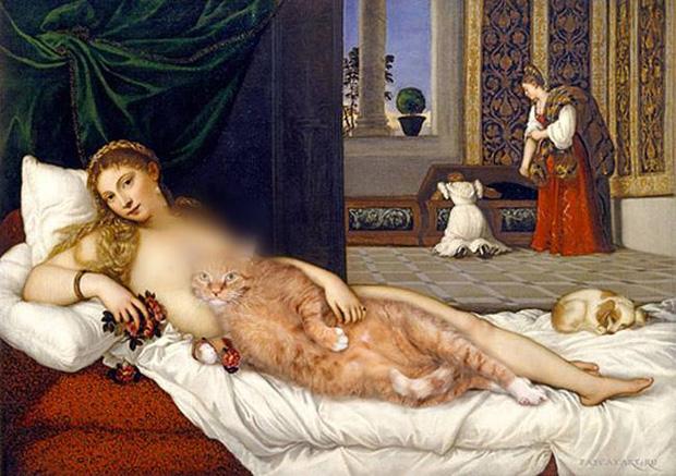 Chết cười loạt ảnh chế mèo béo trở thành 'nàng thơ' trong các bức họa nổi tiếng 7