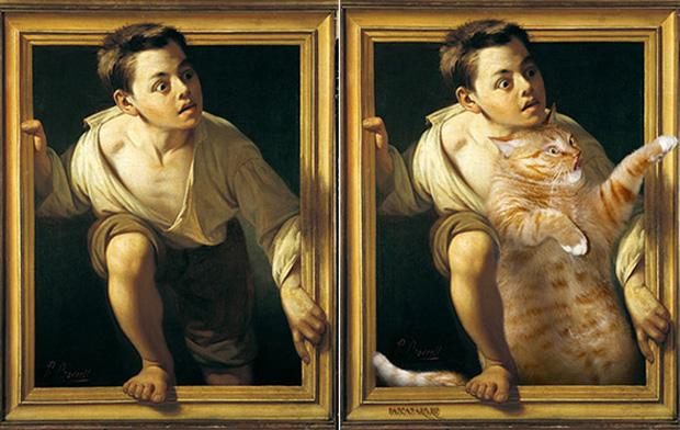 Chết cười loạt ảnh chế mèo béo trở thành 'nàng thơ' trong các bức họa nổi tiếng 8