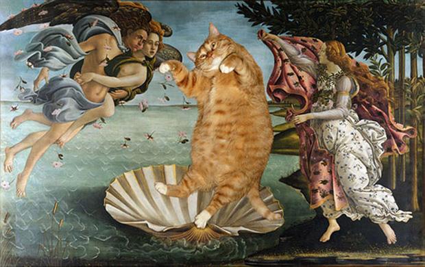 Chết cười loạt ảnh chế mèo béo trở thành 'nàng thơ' trong các bức họa nổi tiếng 4