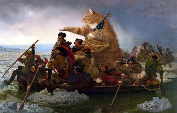 Chết cười loạt ảnh chế mèo béo trở thành 'nàng thơ' trong các bức họa nổi tiếng 12