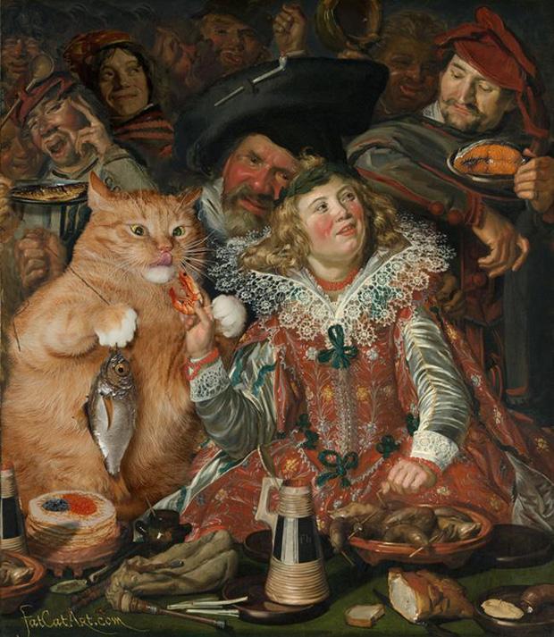 Chết cười loạt ảnh chế mèo béo trở thành 'nàng thơ' trong các bức họa nổi tiếng 11
