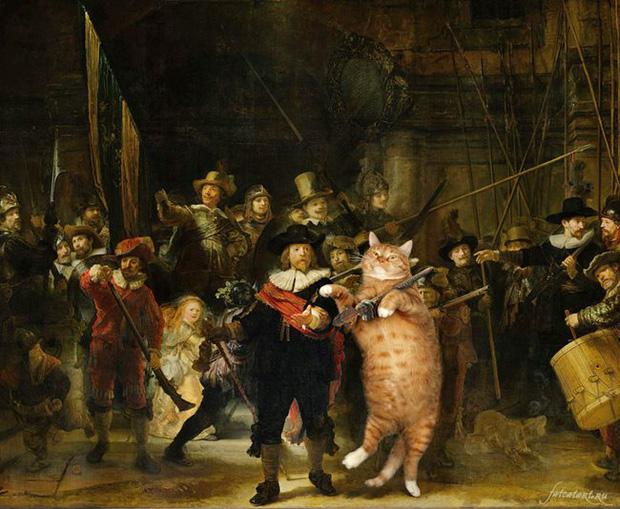 Chết cười loạt ảnh chế mèo béo trở thành 'nàng thơ' trong các bức họa nổi tiếng 13