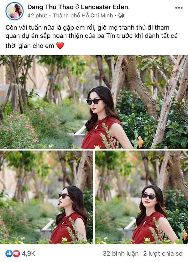 Dù mang thai đến gần thời điểm lâm bồn nhưng Hoa hậu Đặng Thu Thảo vẫn đẹp rạng rỡ.