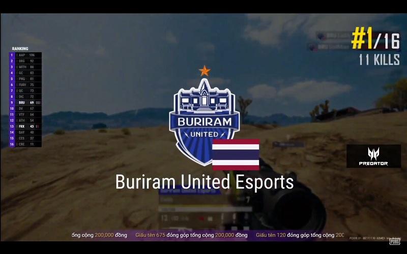 Buriram United Esports mở ra ngày thi đấu tuyệt đỉnh với top 1 11 kills.