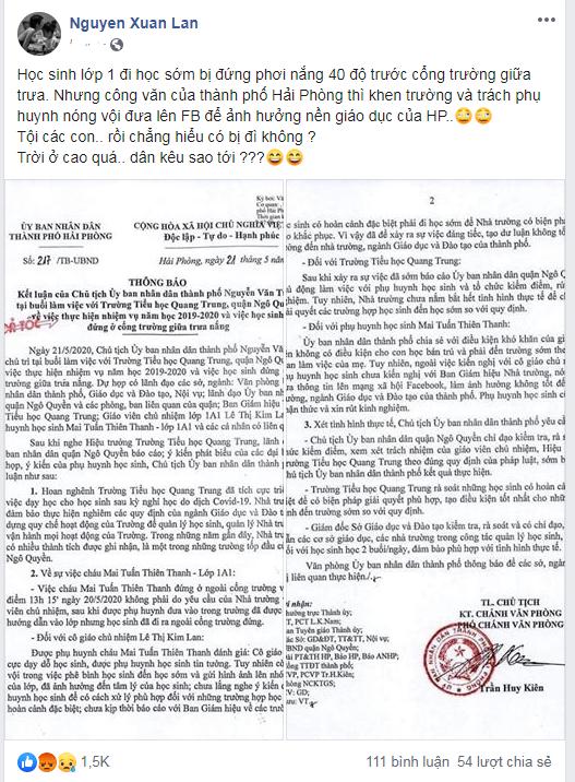 Bài đăng của Xuân Lan trên trang facebook cá nhân