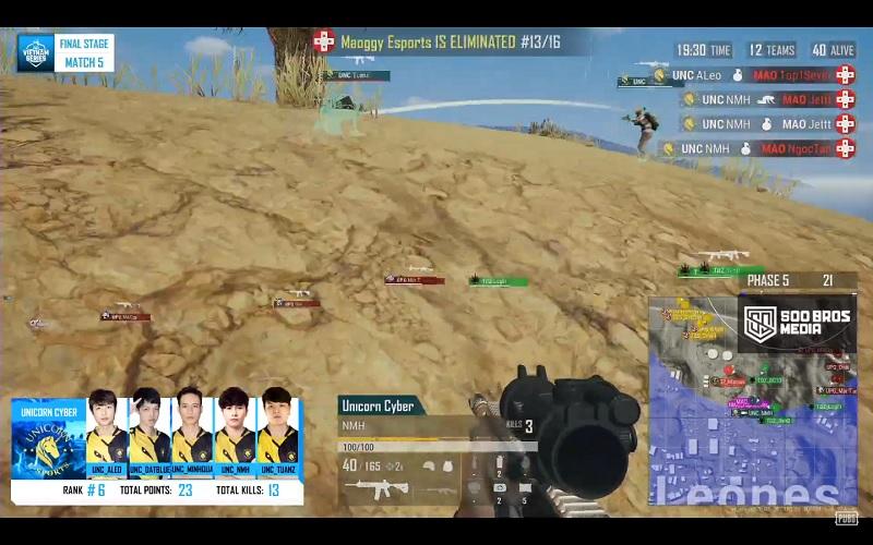 Aleo và NMH tỏa sáng đúng lúc khi đem về lượng kill khá cao cho Unicorn Cyber tại round đấu cuối.