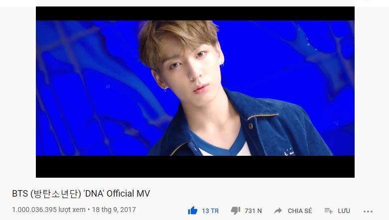 """Lượt view của MV 'DNA"""" đã cán mốc 1 tỉ vào sớm ngày 1/6."""