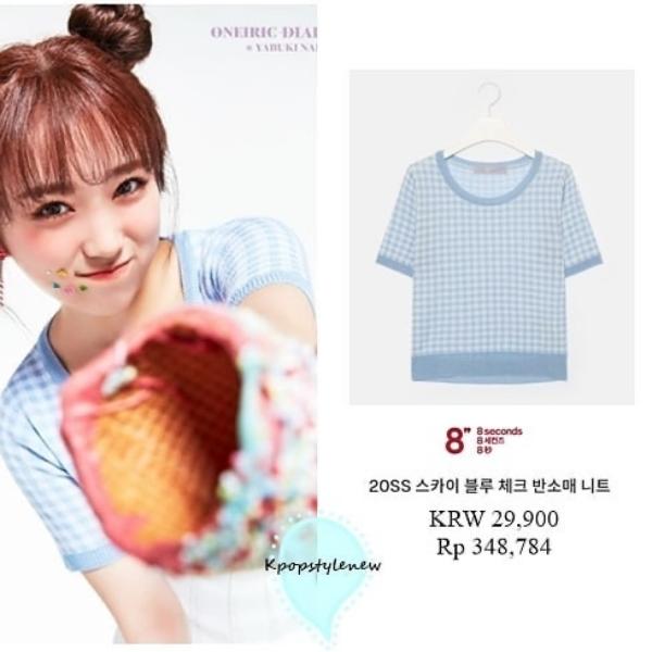 Nako xinh xắn trong áo thun sọc xanh caro. Nhờ có visual của Nako vớt vát, chứ việc lấy chiếc áo thun đơn giản đến không thể giản đơn hơn, có giá khá 'bèo' khoảng 550.000 VNĐ làm outfit trong teaser khó mà chấp nhận được.