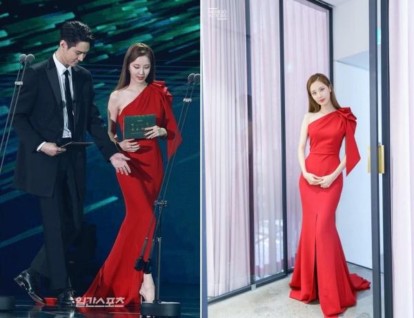 Cũng như Han So Hee, Seohyun được chọn là 1 trong những sao nữ mặc đẹp nhất giải với chiếc đầm lệch vai khoe body cực bốc.