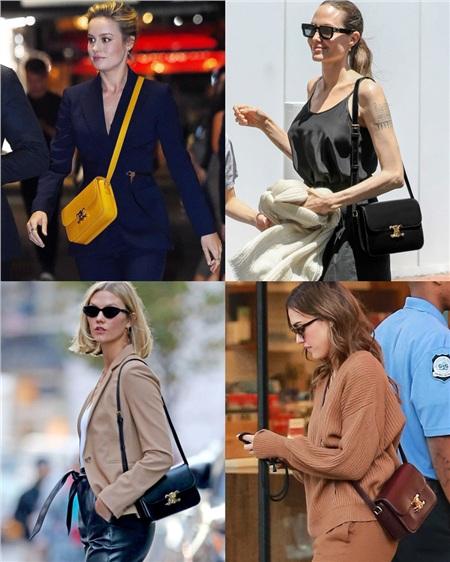 Brie Larson, Angelina Jolie, Karlie Kloss, Jessica Alba cũng là 1 fan của túi Celine Triomphe.