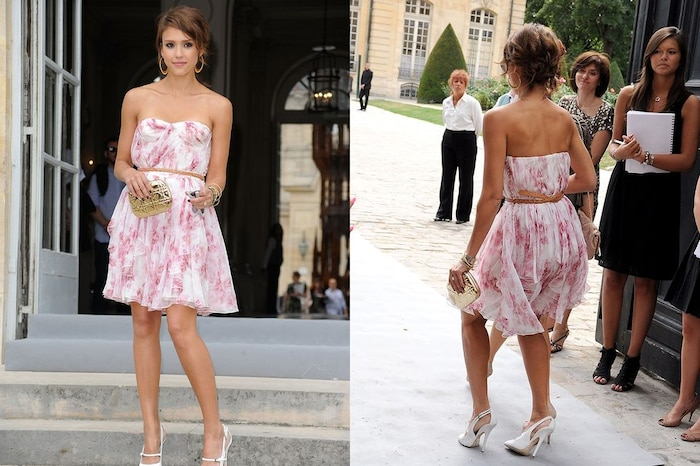 Jessica Alba đã có một lựa chọn sai lầm trong buổi trình diễn của Dior tại Tuần lễ thời trang Paris năm 2011. Đôi giày quá mong manh khiến cô không thể đi trên một đường thẳng.