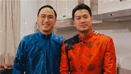 Vợ chồng Tăng Thanh Hà diện áo dài truyền thống trong bữa tiệc tất niên 5