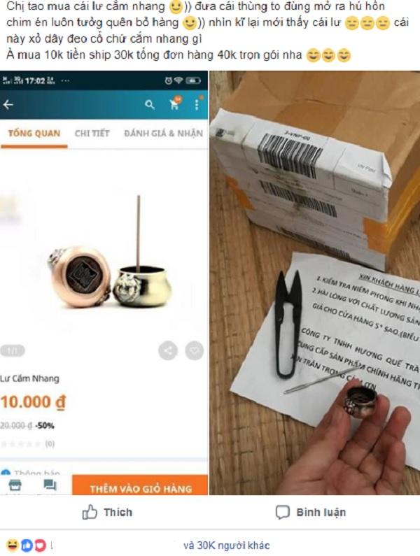 Một cô gái từng bỏ tiền mua chiếc lư cắm nhang với giá 10k và ship 30k, nhìn hình ảnh quảng cáo trên mạng và ngoài đời thực khiến dân mạng cười ngặt nghẽo