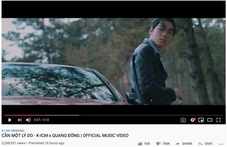 Mặc dù đạt thành tích khủng nhưng MV 'Cần một lý do' của K-ICM cũng đang trên đà xác lập một kỷ lục không mấy vui vẻ.