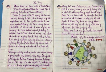 Một bức thư rất dài của học sinh lớp 1 gửi đến các bạn học sinh Vĩnh Phúc.
