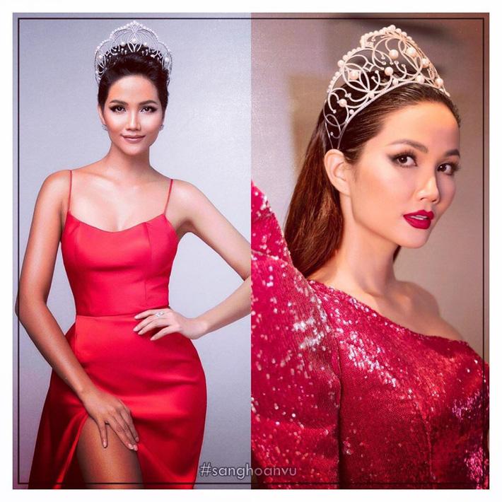 Trong hình ảnh do fan hâm mộ đăng tải, có thể thấy khi cùng diện váy đỏ đeo vương miện quyền lực thì nàng Hậu H'Hen Niê với mái tóc ngắn sẽ cá tính và thu hút hơn hẳn khi để tóc dài.