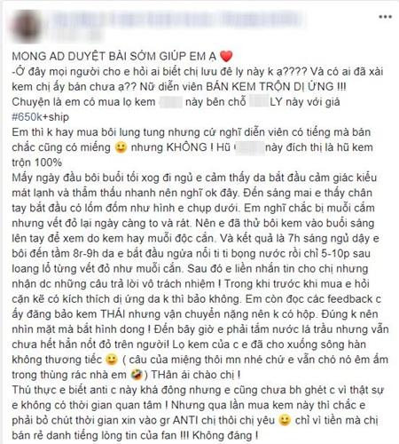 Lưu Đê Li lại bị réo tên vì 'phốt' liên quan tới loại kem dưỡng mà cô đang bán.(Ảnh chụp màn hình)