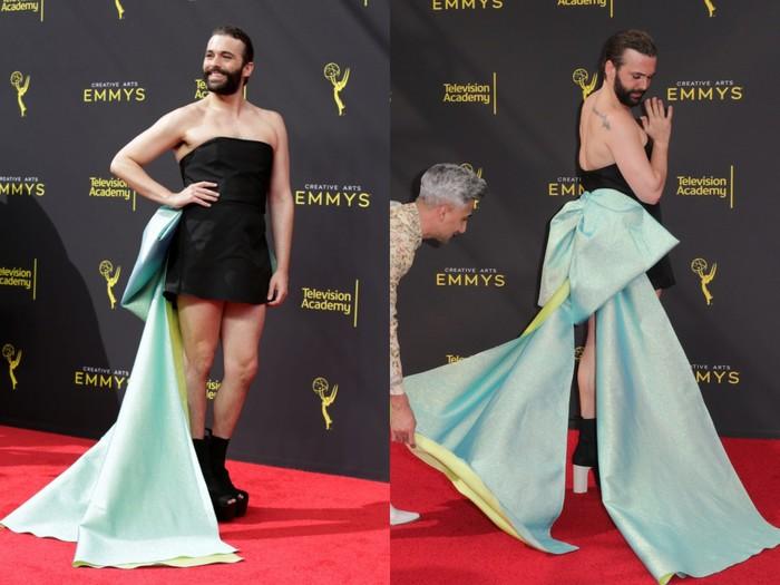 Nam diễn viên Jonathan Van Ness gây sốc khi mặc váy cúp ngực bó sát trên thảm đỏ 0