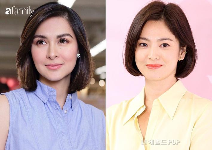 Quả thật kiểu tóc này cũng khiến Marian Rivera có nét hao hao với Song Hye Kyo, cả 2 cùng sở hữu gương mặt tròn trịa, môi dày, ánh mắt linh hoạt có thần.