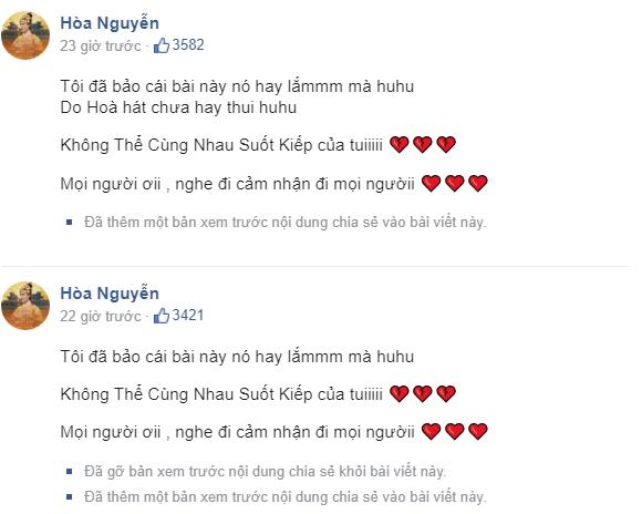 Hòa Minzy chỉnh sửa bài đăng của mình trên trang Facebook cá nhân.