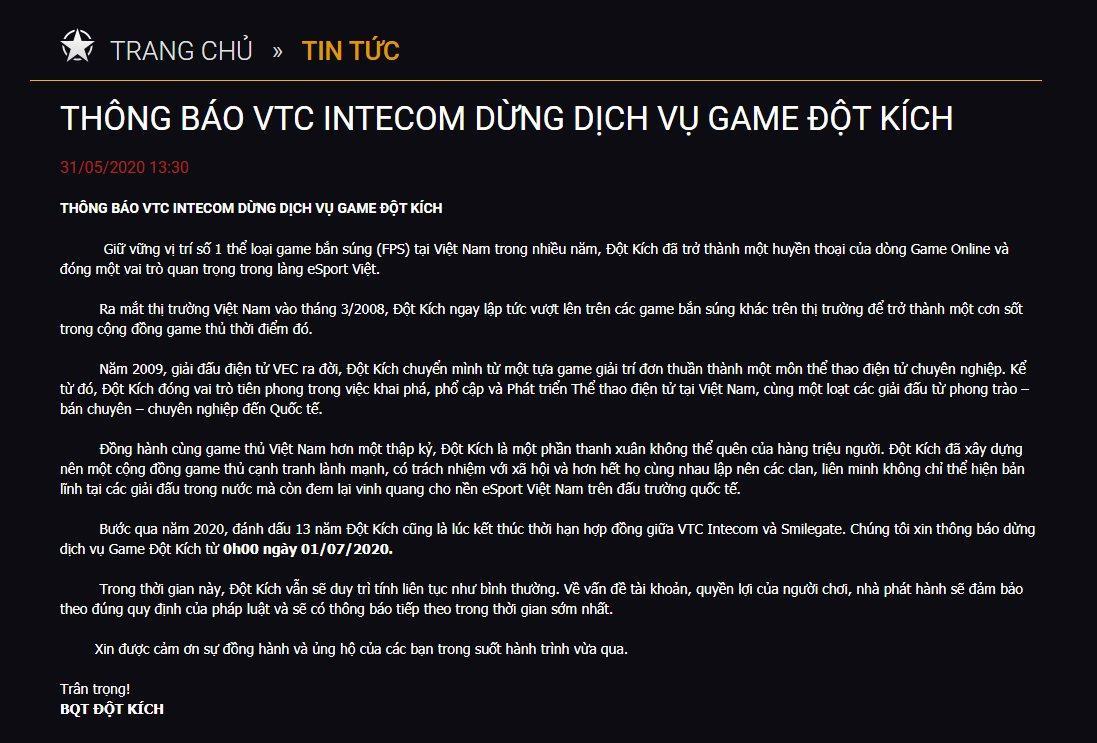 VTC Intecom chính thức thông báo đóng cửa Đột Kích 1