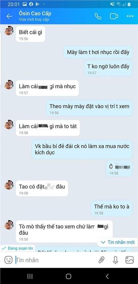Một trong những đoạn chat do cô vợ đăng tải