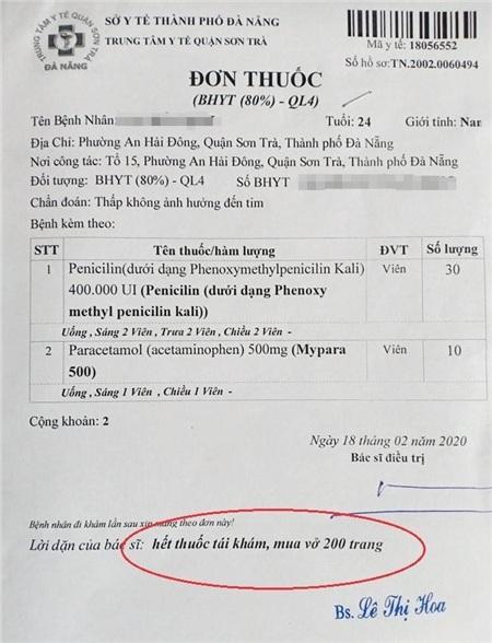 Đơn thuốc của anh Đ., có lời dặn mua vở 200 trang. Ảnh: VTC News
