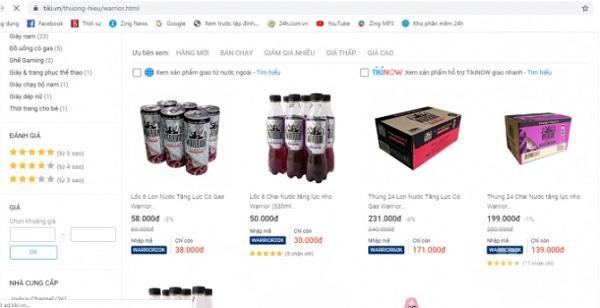 Sản phẩm được rao bán trên mạng với giá giao động từ 168.000đ-171.000đ/ 1 thùng 24 chai - Ảnh: Nông nghiệp Việt Nam