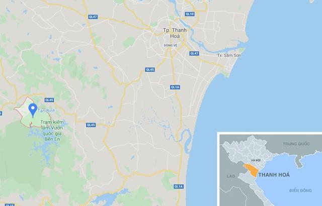 Xã Tân Bình, huyện Như Xuân (Thanh Hóa, chấm xanh). Ảnh: Google Maps.