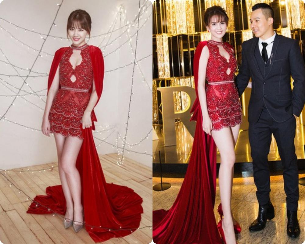 Bộ đầm đỏ gợi của NTK Đỗ Long tưởng đâu chỉ có Ngọc Trinh là mặc đẹp xuất sắc, ai ngờ Hari Won cũng 'ngang tài ngang sức'. Cả hai đều chọn kiểu tóc búi cao kèm mái lưa thưa để 'trẻ hóa' nhan sắc của mình.
