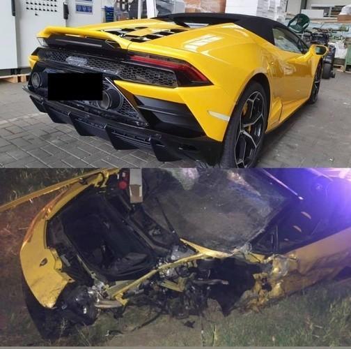 Siêu xe Lamborghini Huracan Evo Spyder bị vỡ nát sau tai nạn kinh hoàng.