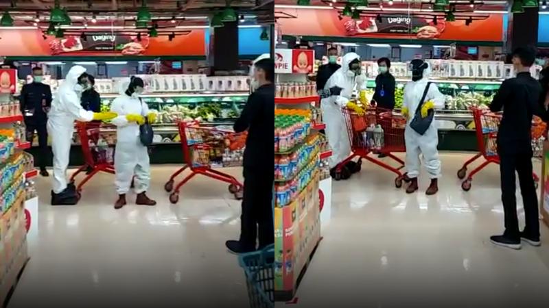 Cặp đôi bị chỉ trích 'làm màu', gây lãng phí vì mặc đồ bảo hộ đi siêu thị mua sắm