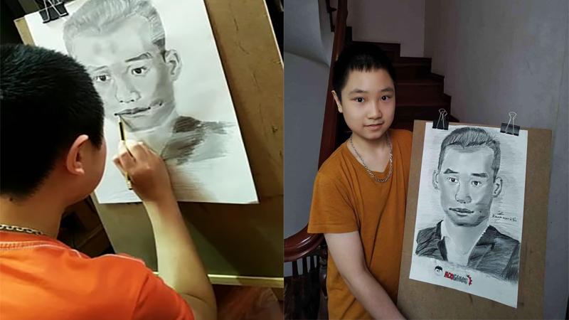 Hâm mộ Độ Mixi, bé trai học lớp 7 dành thời gian ở nhà chống dịch vẽ tranh chân dung tặng Tộc trưởng