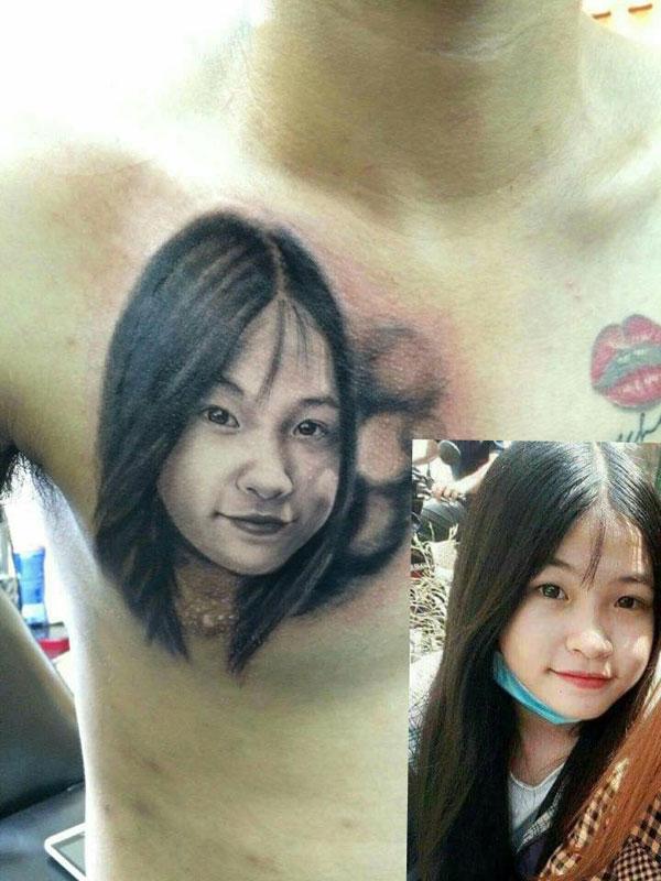 Hình xăm bạn gái trên ngực của Bình