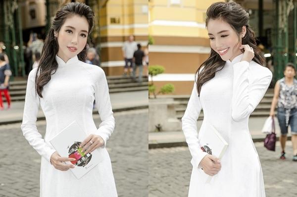Elly Trần diện áo dài duyên dáng dạo phố Sài Gòn 0