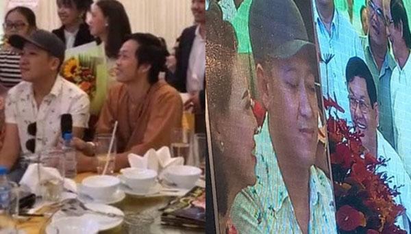 Khi dự tiệc cùng Hoài Linh thì anh vẫn đội mũ.
