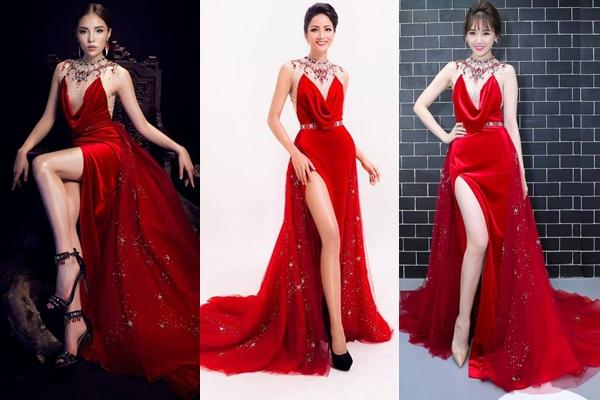 Nếu như Kỳ Duyên ghi điểm bằng gương mặt lạnh lùng thì H'Hen Niê và Hari Won lại mang vẻ đẹp nữ tính.