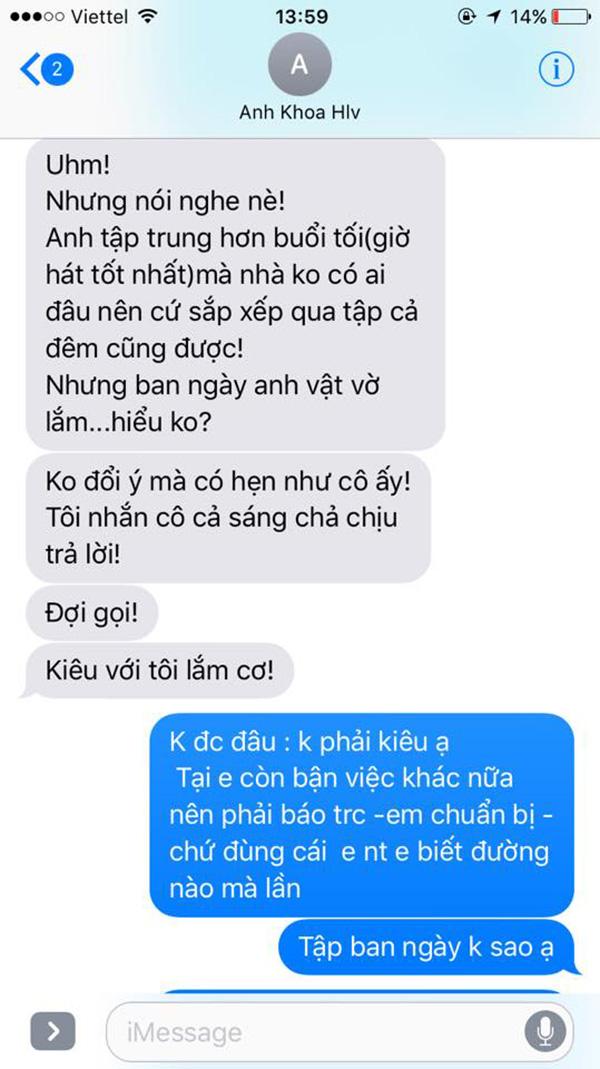 Những đoạn tin nhắn được cho là bằng chứng gạ tình của Phạm Anh Khoa được Phạm Lịch đăng lên trang cá nhân.