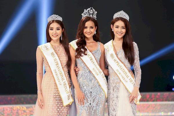Top 3 người đẹp đoạt ngôi vị cao nhất Miss Supranational Vietnam 2018.