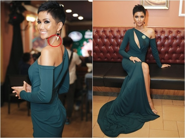Bộ váy quyến rũ với màu xanh này phù hợp với H'Hen Niê, chỉ trừ lỗi trang điểm và cách chọn nội y không phù hợp của người đẹp.