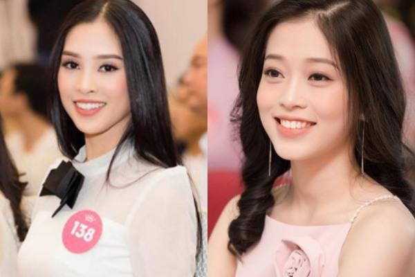 Một khoảnh khắc của hai người đẹp trong cuộc thi Hoa hậu Việt Nam 2018. Phong cách và nét đẹp riêng của Tiểu Vy và Phương Nga vẫn không mấy khác biệt so với trên sân khấu, người đẹp một cách quyến rũ, người lại thu hút vì sự tinh khôi.