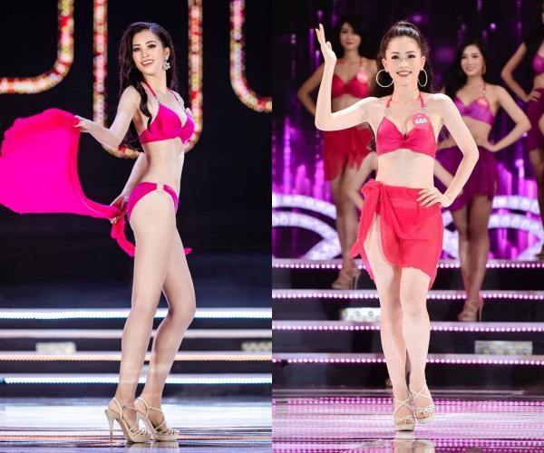 Trình diễn trang phục bikini trên sân khấu, Hoa hậu Trần Tiểu Vy lại 'nhỉnh' hơn Á hậu 1 Bùi Phương Nga bởi đôi chân dài thẳng tắp.