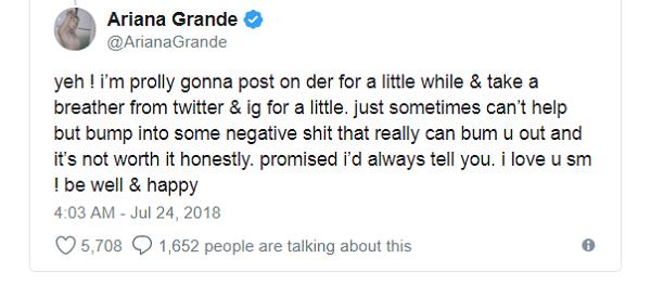 Tâm thư hạn chế mạng xã hội của Ariana Grande.