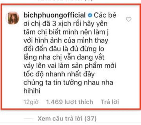 Lời trấn an kịp thời của Bích Phương gửi tới các fan.