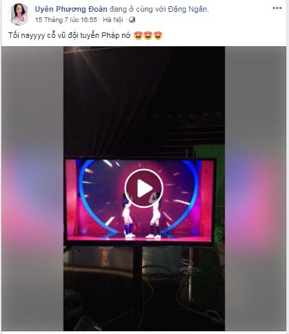Hot girl Đoàn Phương Uyên cũng cổ vũ cho Pháp trong trận chung kết.