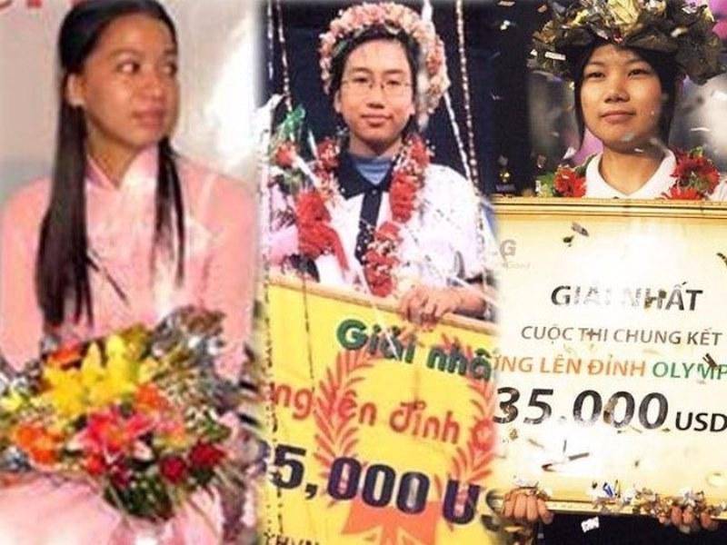 3 nữ quán quân của Đường lên đỉnh Olympia, từ trái qua: Trần Ngọc Minh, Lương Phương Thảo, Phạm Thị Ngọc Oanh