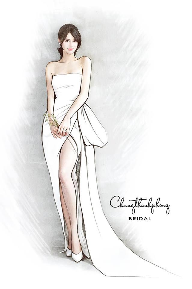 Bản vẽ phác thảo váy cưới của Nhã Phương.