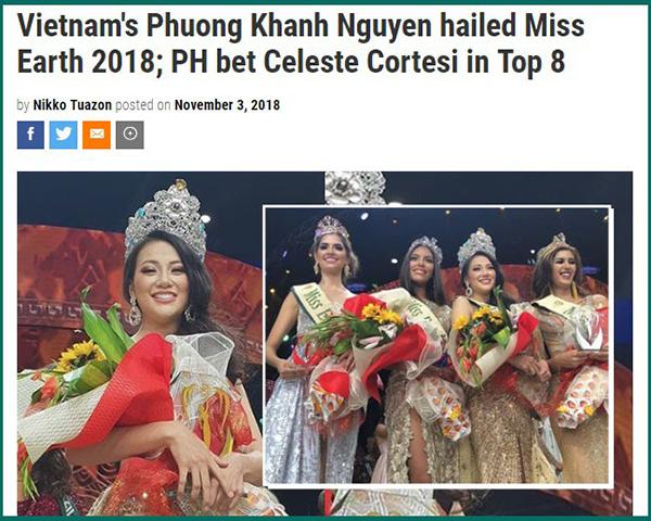 Bài đăng về Phương Khánhtrên trang tin showbiz Pep của Philippines.