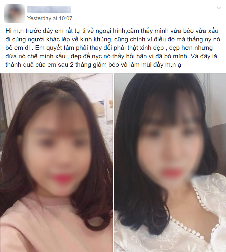 Đính kèm bài viết là bức hình so sánh nhan sắc cô gái trước và sau khi thay đổi bản thân.